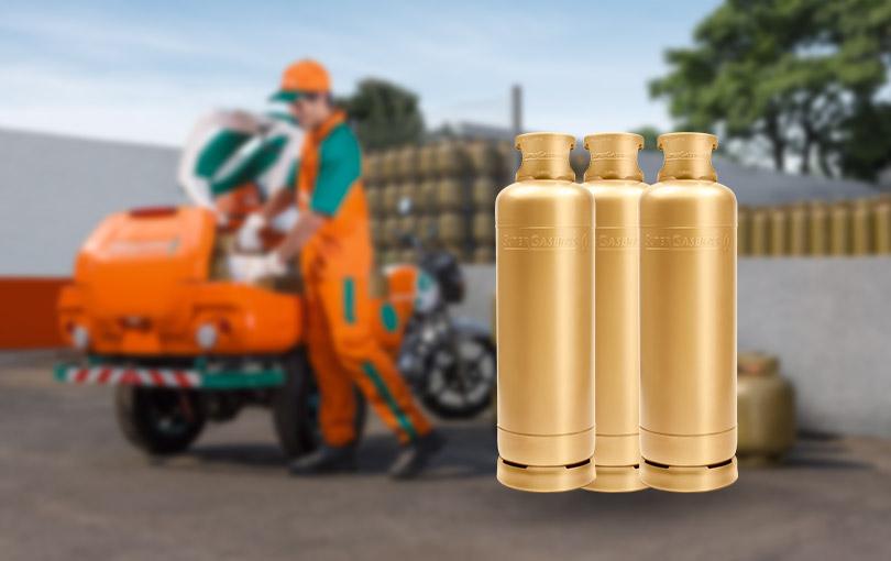 Os cilindros de 45 kg são utilizados em casas, condomínios e estabelecimentos comerciais.